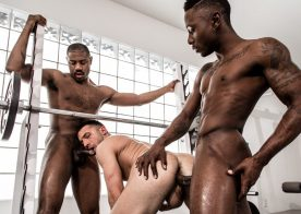 Miller Axton and Adonis Couverture tag-team Colby Tucker at Noir Male
