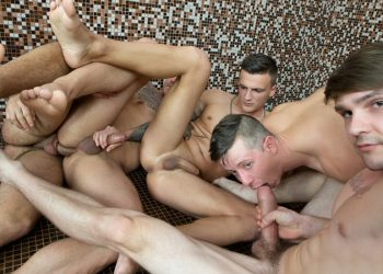 Dom Ully, Ryan Cage, Vito, Tony and Ryu fuck in a bathhouse orgy at Reality Dudes