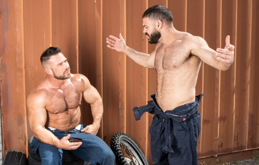 Hairy studs Liam Knox and Ricky Larkin suck each other off at Raging Stallion