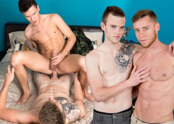 Next Door Studios: Scott Finn flip-fucks with Justin Matthews and Evan Landers