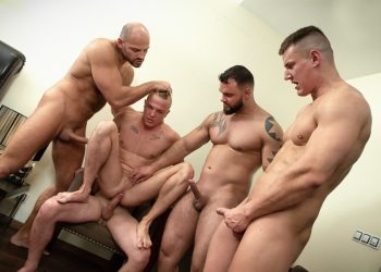 Bromo Train Bang: Roman gets gangbanged by Jerome, Tomm, Luke and Rudy