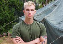 Handsome newcomer Eric Tanner strokes his juicy cock for Active Duty