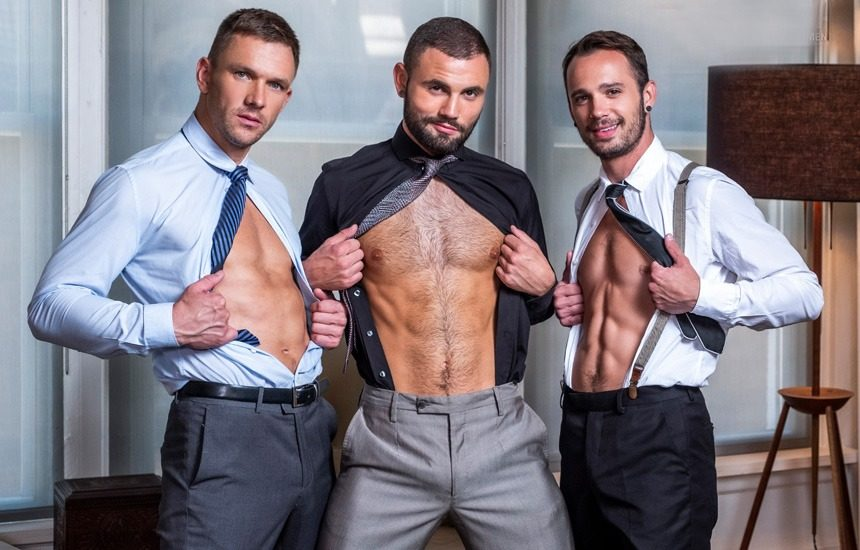 Jeffrey Lloyd, Andrey Vic and Drake Rogers in a bareback threeway from Lucas Entertainment