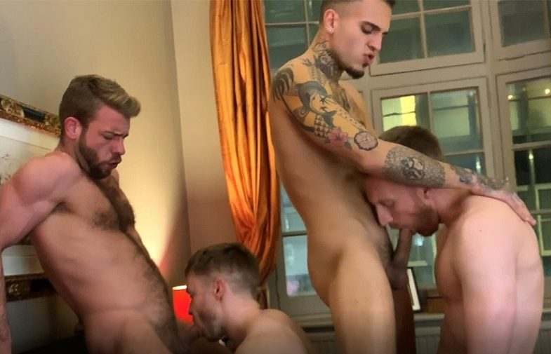 JustFor.Fans: Leo Rex in an orgy with Gabriel Cross, Gabriel Phoenix, Diggory & Leander