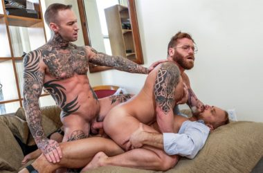 Dirk Caber and Dylan James double-penetrate Riley Mitchel at Lucas Entertainment