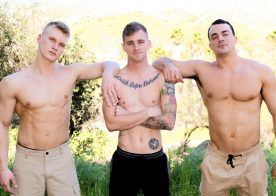 Alex James and Blake Effortley make Ryan Jordan their slut in this bareback threeway