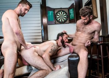 "Link Parker and Wesley Woods fuck Brendan Patrick in Icon Male's ""Seedy Bar Threeway"""