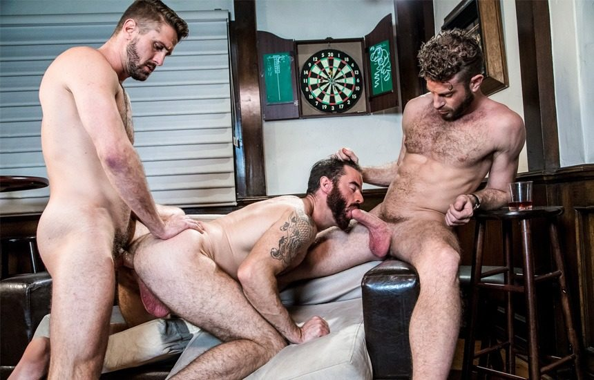 """Link Parker and Wesley Woods fuck Brendan Patrick in Icon Male's """"Seedy Bar Threeway"""""""