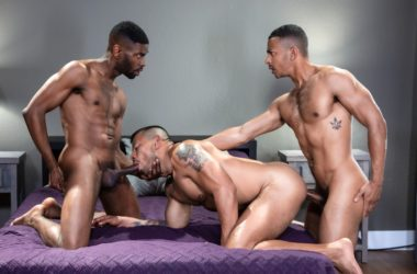 Taye Scott, Nico Santino and Zario Travezz in a bareback Raging Stallion threesome
