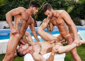 "James Castle, Andrea Suarez and Andy Star fuck in ""Bareback Pool Party"" part one"