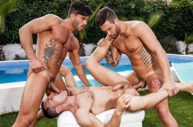 """James Castle, Andrea Suarez and Andy Star fuck in """"Bareback Pool Party"""" part one"""