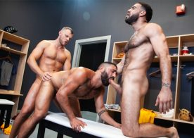 "Wade Wolfgar, Ricky Larkin & Sharok fuck in ""Outta The Park!"" part 1 from Raging Stallion"