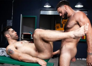 "Ricky Larkin plows Lucas Leon's bare ass in ""Outta The Park!"" part 4 from Raging Stallion"