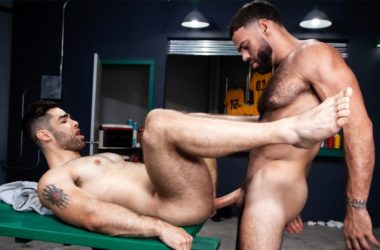 """Ricky Larkin plows Lucas Leon's bare ass in """"Outta The Park!"""" part 4 from Raging Stallion"""