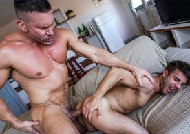Muscle daddy Tomas Brand slams his big raw cock deep into Allen King's hungry ass hole