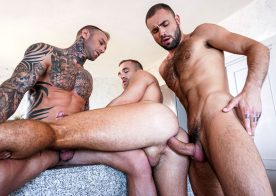 "Lucas Entertainment: Dylan James, Jeffrey Lloyd & Jackson Radiz in ""Raw Anal Sluts"" part 1"