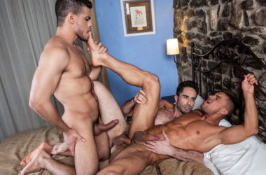 """Klim Gromov bottoms for Rico Marlon and Michael Lucas in """"Raw Anal Sluts"""" part 3"""