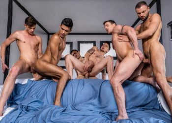 Lucas Entertainment: Benjamin Gomez gets DP'd in a 6-guy bareback orgy
