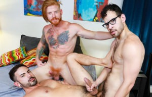 """Pride Studios: Angel Ventura, Cesar Rossi and Bennett Anthony fuck each other in """"Surprise Third"""""""