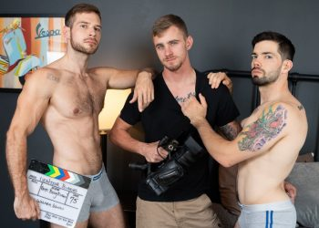 "Next Door Studios: Julian Brady, David Skylar & Ryan Jordan fuck in ""In The Action"""