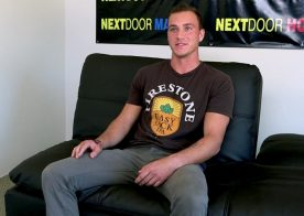Next Door Studios: Handsome newbie Logan Thomas jerks off during his audition