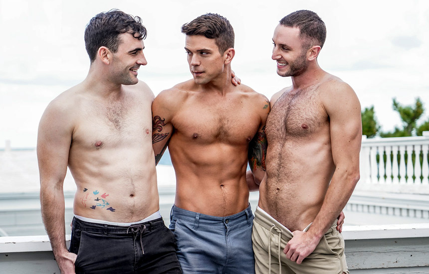 """Lucas Entertainment: Edison Fuller bottoms for Dakota Payne and Max Arion in """"Fire Island Sex Party"""" part 4"""