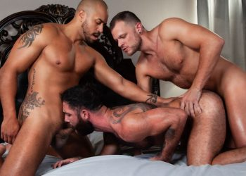 "Wade Wolfgar, Julian Grey and Jake Nicola fuck in ""Loaded: Give It To Me Raw"" (scene 2)"