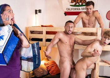 MEN: Daniel Hausser and Logan Cross fuck with mom's new boyfriend Myles Landon