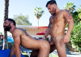 "Raging Stallion: Riley Mitchel and Jake Nicola fuck each other in ""Get A Room"" (scene 2)"