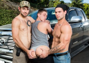 "Next Door Studios: Aspen and Dante Colle tag-team Lance Ford in ""Road Hoe"""