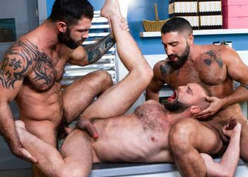 "Raging Stallion: Sharok, Donnie Argento and Jake Nicola fuck in ""Cake Shop"" (scene 1)"