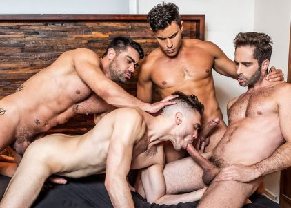 Asher Hawk gets loaded with seed by Michael Lucas, Wagner Vittoria and Rafael Carreras