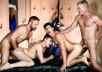 """Dale Savage, Dirk Caber, Kaleb Stryker & Zander Lane in """"The Caddy and The Daddy"""" (scene 3)"""