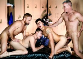 "Dale Savage, Dirk Caber, Kaleb Stryker & Zander Lane in ""The Caddy and The Daddy"" (scene 3)"