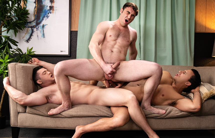 """MEN: Collin Simpson and Reese Rideout double-penetrate Michael Boston in """"Dr. Wood"""" (scene 3)"""