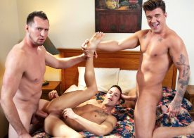 "Masqulin: Nic Sahara bottoms for JJ Knight and Pierce Paris in ""Motel Exhibition"" (scene 3)"