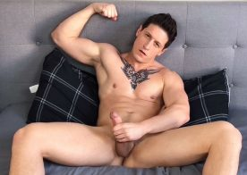 Next Door Studios: Dalton Riley plays with his hard dick in a homemade video