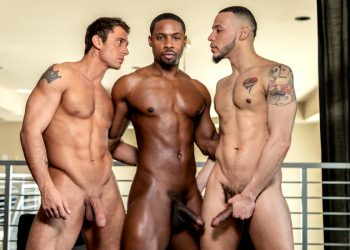 "Noir Male: Jarret Moon gets double-fucked by Elijah Wilde & DeAngelo Jackson in ""Dick Swap"""