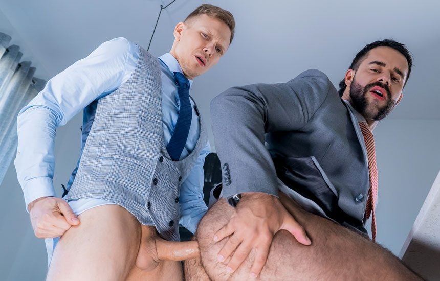 "Ethan Chase debuts at Men At Play and flip-fucks with Teddy Torres in ""Personal Driver"""