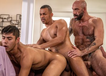 Icon Male: Newcomer Calix Rivera in a raw threeway with Drew Sebastian and Zario Travezz
