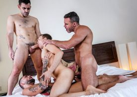 "Ethan Chase gets double-penetrated for the first time in ""Fucked 2 The Max"" (scene 1)"