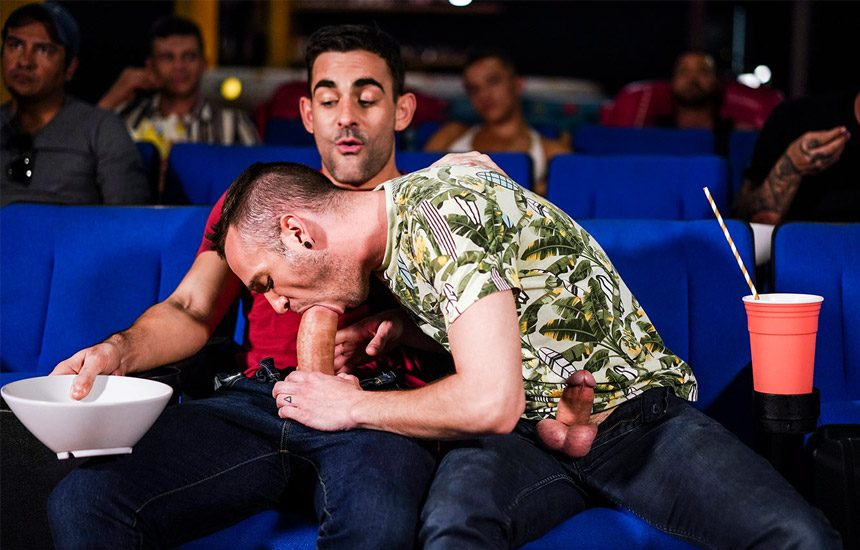 """Drake Rogers and Max Arion fuck in a movie theatre in """"Fucking Show-Offs"""" (scene 1)"""