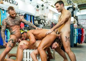 "Max Arion, Dylan James, Andy Star & Drew Dixon fuck in ""Fucking Show-Offs"" (scene 3)"