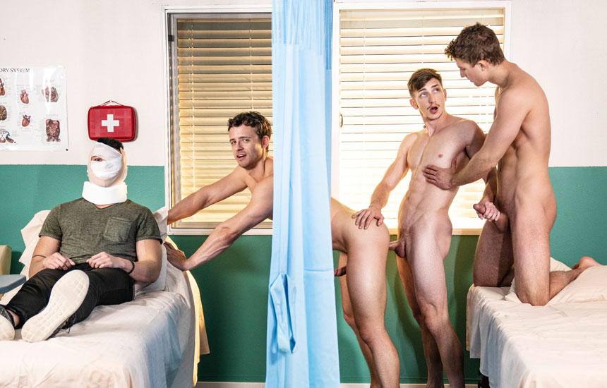 "MEN: Zane Williams, Michael Jackman and Nate Grimes fuck in ""Intensive Cum Unit"" (scene 1)"