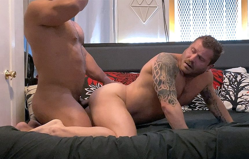 Raging Stallion: Riley Mitchel bottoms for daddy Zack Mitchel and swallows his load
