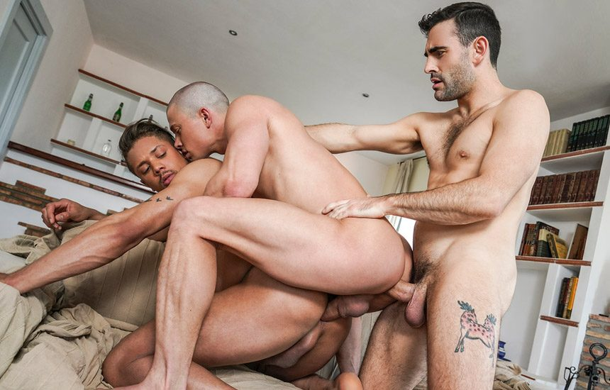 Lorenzo Ciao is back at Lucas Entertainment and bottoms for Max Arion & Ruslan Angelo