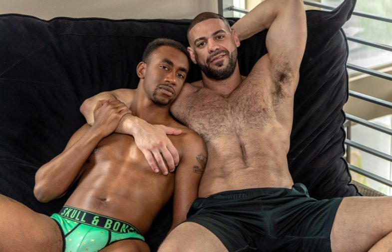 "Bucky Wright debuts at Noir Male and bottoms for Ricky Larkin in ""The Voyeur"""