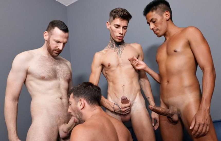 John Thomas gets double-fucked in a threeway with Tim Kruger, Diego Mattos & Maksim Orlov