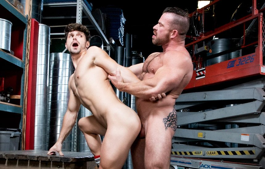 """Raging Stallion: Liam Knox plows Devin Franco's ass in """"Pipe Fitters"""" (scene 3)"""
