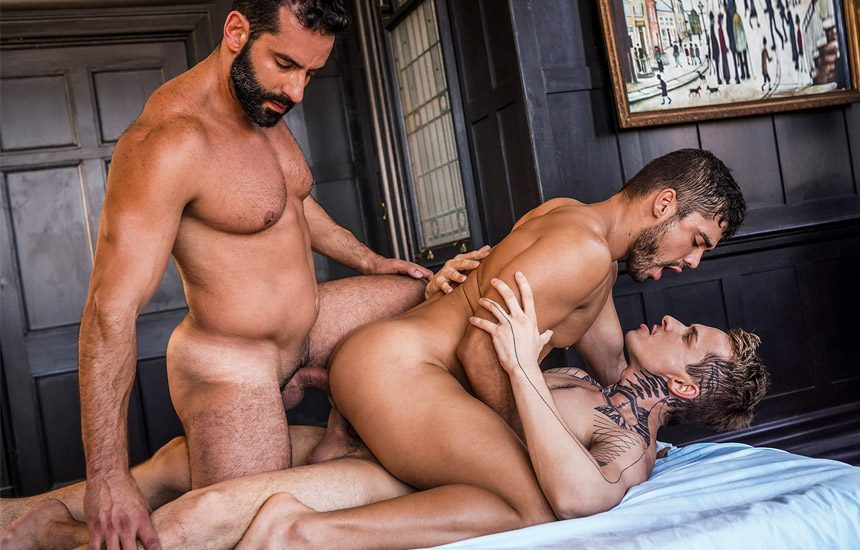 "Robert Royal & Massimo Arad double-penetrate Dann Grey in ""Bareback Auditions 11"" (scene 3)"